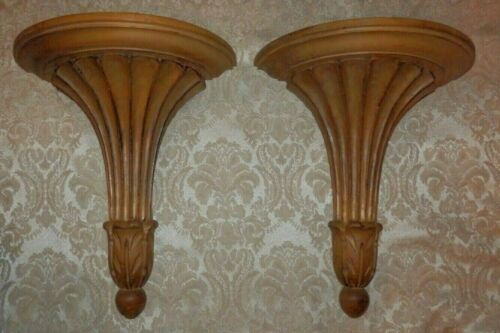 Vintage Pair of ITALIAN FLORENTIA CARVED WOOD WALL SCONCES SHELVES Made In ITALY