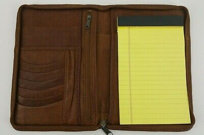 Ellington Brown Leather Portfolio Zipper Agenda Organizer Planner 9x6 Notepad