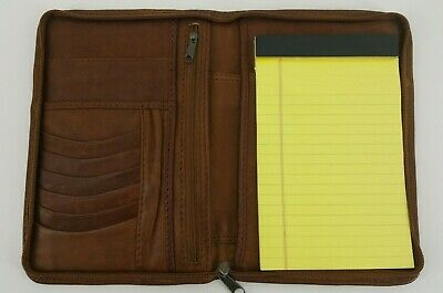 Ellington Brown Leather Portfolio Zipper Agenda Organizer Planner 9x6 Notepad