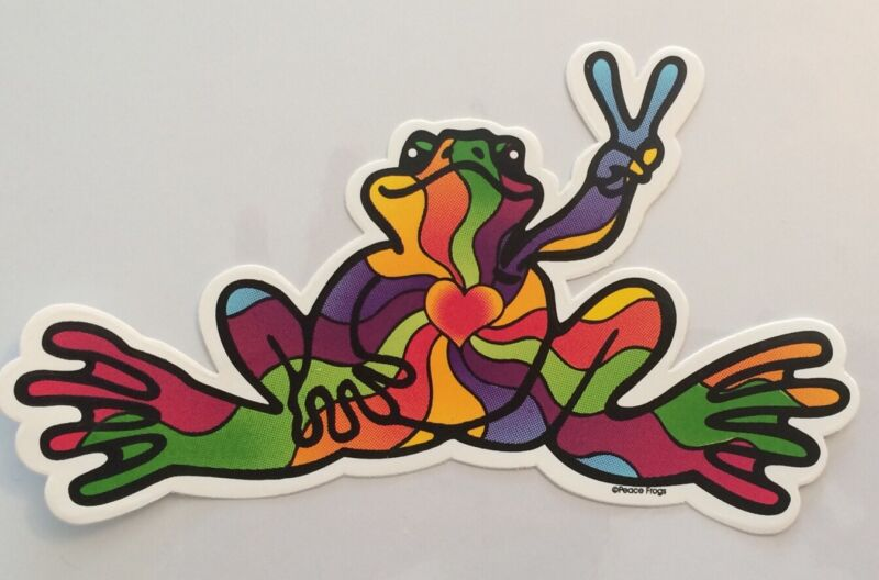 "Peace Frogs Heart/Soul Frog Sticker - 6"" x 3""- High Quality Vinyl - Made in USA"