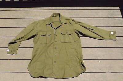 NOS Original WW2 World War 2 US Army Wool Flannel Shirt sz 16-33 dated 1945
