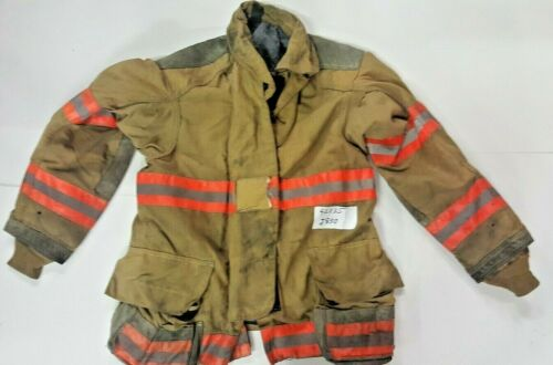Cairns 42x35 Brown Firefighter Turnout Bunker Jacket Coat with Orange Tape J830