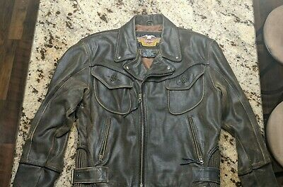 HARLEY DAVIDSON BILLINGS LEATHER JACKET DISTRESSED BROWN MEN'S LARGE, used for sale  Shipping to India