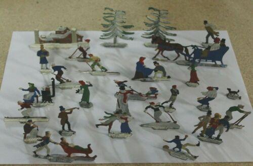 27 Vintage Lot Hans Heinrichsen German Tin Lead Flats Christmas Winter Scene