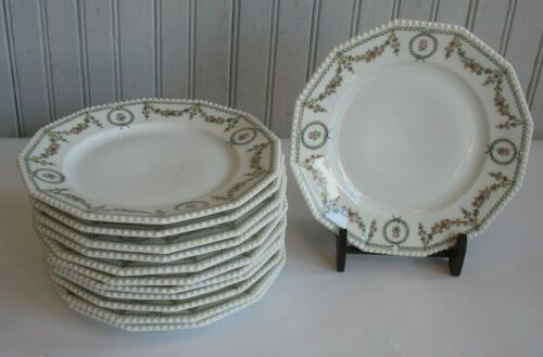 """S/ 12 Nymphenburg Floral Swag #1390 7 3/8"""" dessert plates 12 sided beaded edge"""