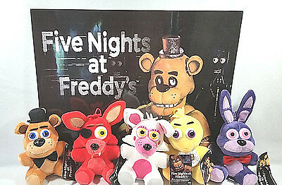 Fnaf Five Nights At Freddys Good Stuff Set Of 5 Plush Freddy Foxy Chica Bonnie