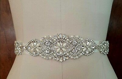 "Wedding Dress Sash Belt - Crystal Pearl SASH BELT = 13"" long"
