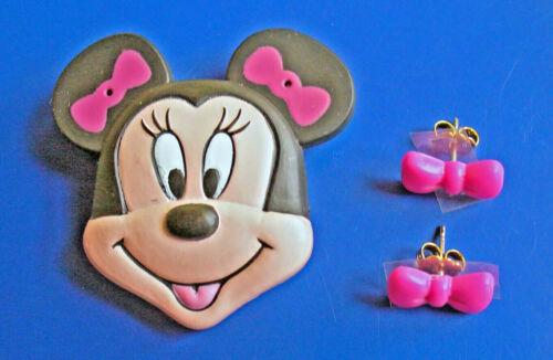 Avon PIN EARRING SET Disney Vintage MINNIE Mouse TRINKET BOX