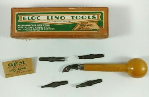 VINTAGE Linocraft Pen - Bloc Lino Tools Cutting - M. Grumbacher English Steel