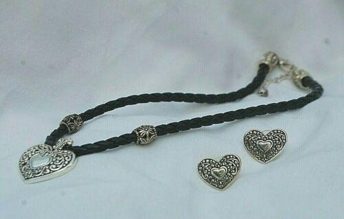 Faux Braided Leather Choker Silver Tone Pierced Heart & Earrings Costume Jewelry