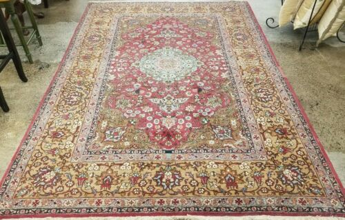ANTIQUE 1930 HAND-KNOTTED TURKISH HERIKEH-KASHANI VINTAGE WOOL MUTED RUG 7