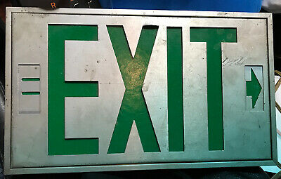 Vintage Lighted Metal Green Exit Sign Adjustable Arrows Aluminium Display Cave