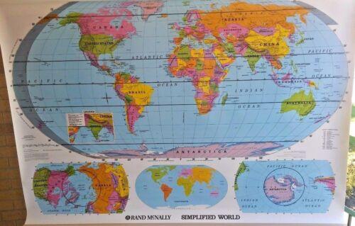 New! Rand McNally World United States Pull-Down Classroom Map US Grade 3 4 5 6 +