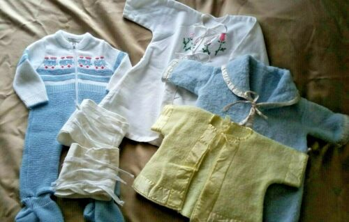 Vintage Baby Clothes Lot Infant Binder Robes Knit Footie 1950