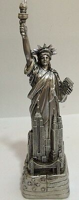 "6"" Silver Statue of Liberty Figurine w.Flag Base and NYC SKYLines from NYC"