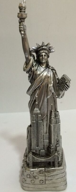 """6"""" Silver Statue of Liberty Figurine w.Flag Base and NYC SKYLines from NYC"""