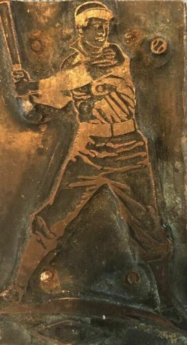 RARE Antique BASEBALL Copper / Wood Printing Block 3""
