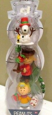 Snoopy Christmas Figurine Peanuts Decoration Charlie Brown Sally Set 3 ()
