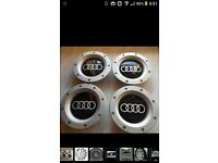SET OF 4 NEW AUDI WHEEL CENTRE CAPS FOR 9+12 SPOKE ALLOYS. RS4 1998-2006.147MM. 8DO 601 165K
