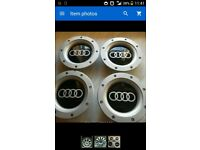 SET OF 4 AUDI WHEEL CENTRE CAPS FOR 9+12 SPOKE ALLOYS .147MM.56-58MM REAR FITMENT.