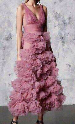 rapiert Tüll Mieder Schlaghose 3D Kleid Lila Rosa V Hals 16 (3d-kleid)