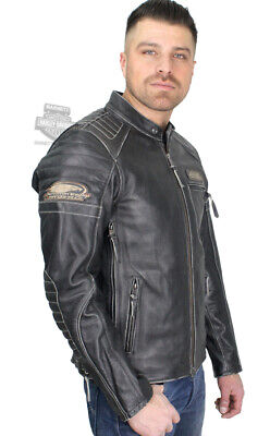 Harley-Davidson Mens TALL Screamin Eagle Vintage Black Leather Jacket 98028-18VT