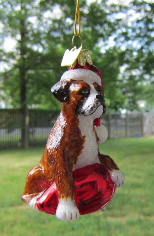 Glass Ornament BOXER w/Holiday Bulb Dog Christmas Ornament Retired