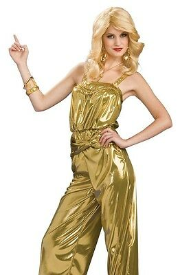 Retro Glam 60s 70s 80s Disco Diva Star Gold JumpSuit Costume - Size 6-12 - Fast