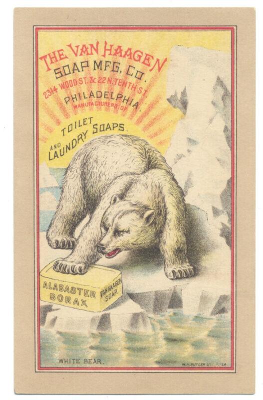 VAN HAAGEN TOILET & LAUNDRY SOAP ca1890 Trade Card - POLAR BEAR On Ice Floe RARE
