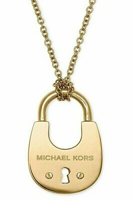 Michael Kors Womens Cityscape Hardware Gold Padlock Long Necklace MKJ4633710+BOX