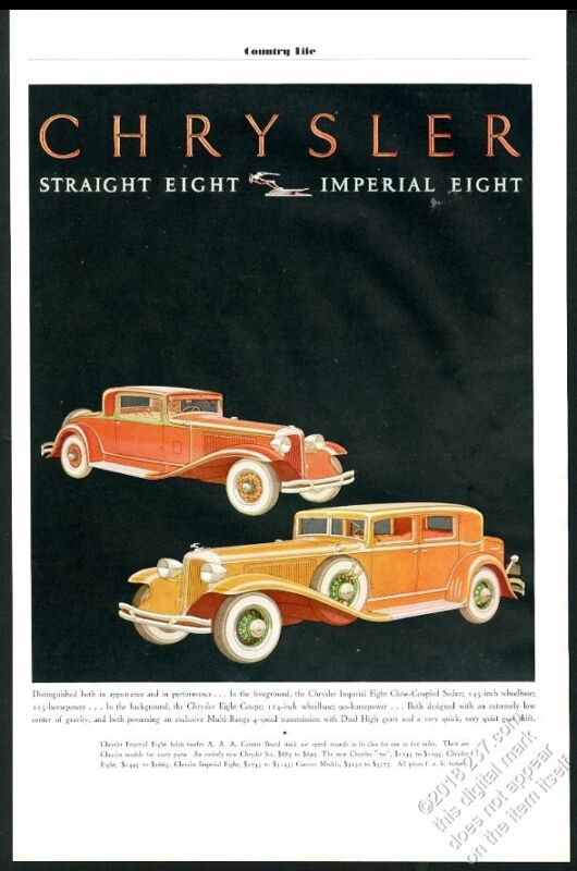 1931 Chrysler Imperial Eight Coupe and Sedan car art vintage print ad