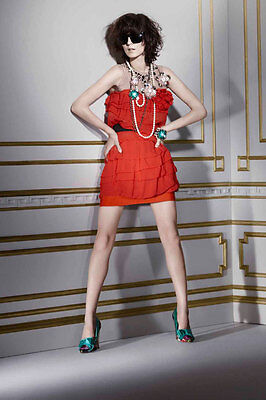 New Lanvin H&M Red Jewelled Silk Ruffle Mini Cocktail Party Dress UK12 EUR38 US8