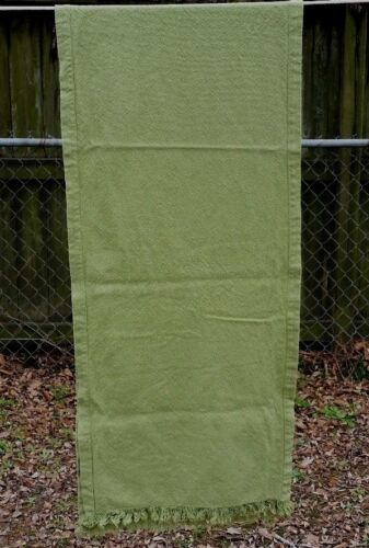 """VINTAGE OLIVE GREEN TABLE RUNNER 80""""X18"""" FREE SHIPPING"""