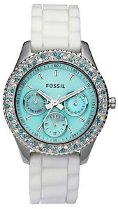 New-Fossil-Womens-Stella-Aqua-Face-Teal-Blue-White-Crystal-Bezel-Watch-ES2894