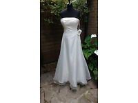 Ivory white Wedding dress with beaded shawl and extra straps by Carducci - new with tags UK size 10