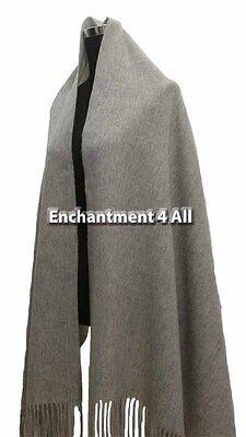 "New Elegant Large 80""x28"" 4-Ply 100% Pure Cashmere Women Shawl Wrap, Light Gray"
