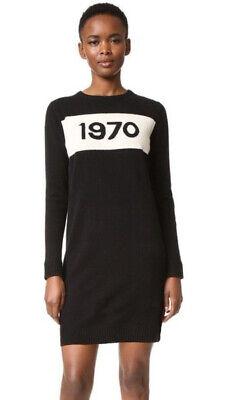 Bella Freud 1970 Black Wool Knit Long Sleeve Sweater Dress fits US 4-6