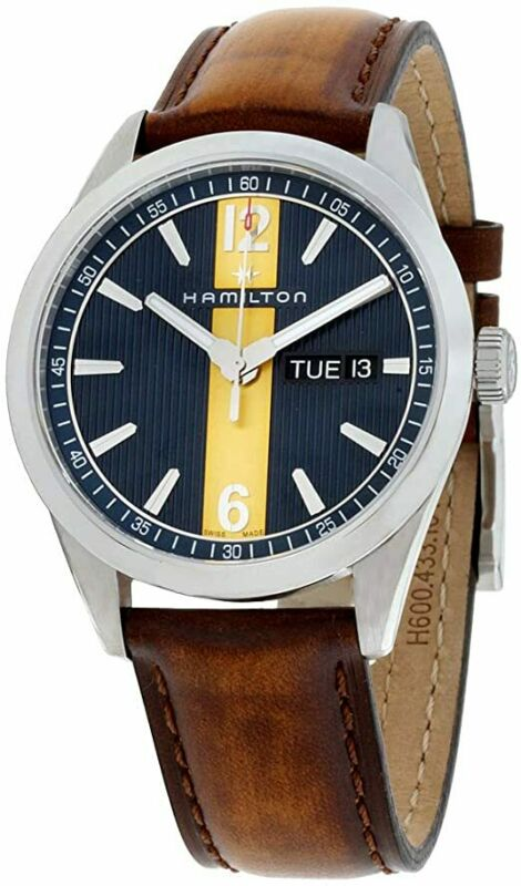 Hamilton-Men-H43311541-Broadway-40mm-Blue-Yellow-Dial-Leather-Watch
