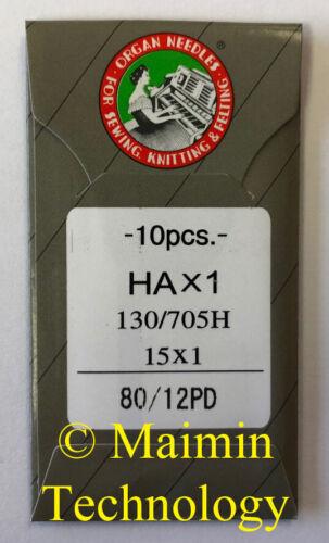 10 ORGAN TITANIUM HOME EMBROIDERY MACHINE NEEDLES 80/12 SHARP 15X1 PD