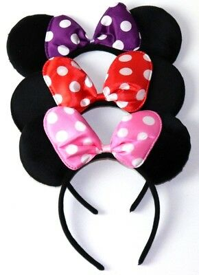 (3 Minnie Mouse RED PINK PURPLE Bow Mickey Mouse Ears HeadbandS Disney adult/kid)