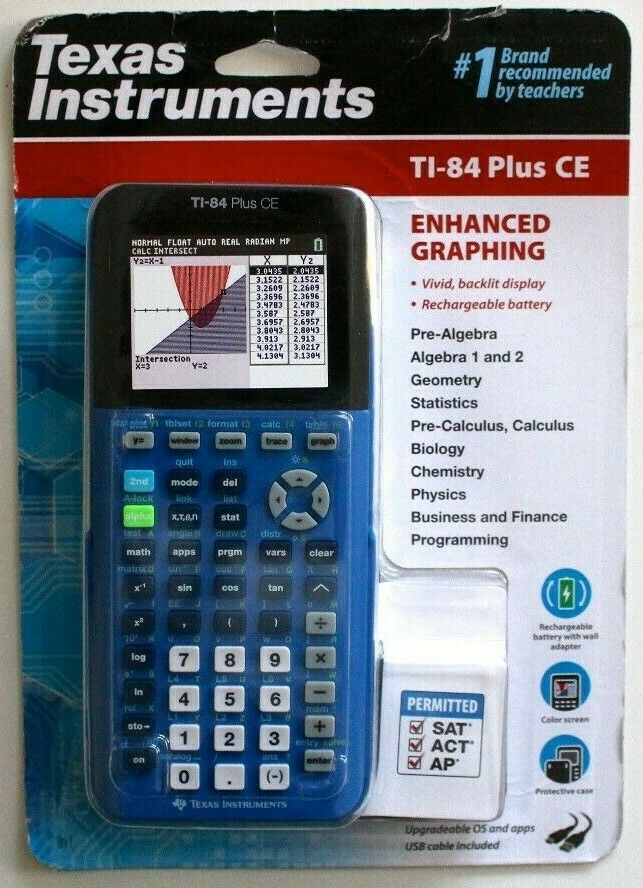NEW TEXAS INSTRUMENTS TI-84 PLUS CE ENHANCED GRAPHING CALCUL