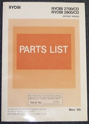 Parts List Manual For Ryobi 2700-cd 2800-cd Nov 95 Edition.
