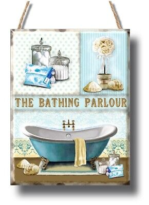 Bathroom toilet bathing parlour Plaque Sign gift vintage retro style door wall