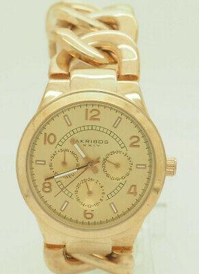 Akribos XXIV AK531RG Chrono Quartz Rose-ToneTwist Chain Bracelet 38mm Watch