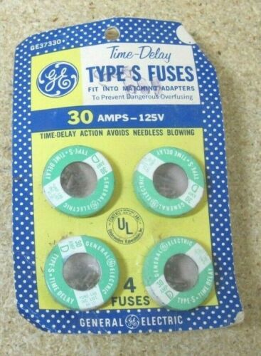 NOS GE 30 Amp Time Delay Type S Fuses GE37330-4D