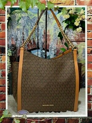 NWT MICHAEL KORS NEWBURY MK Sig MEDIUM Chain Shoulder Tote BROWN/ACORN PVC $328