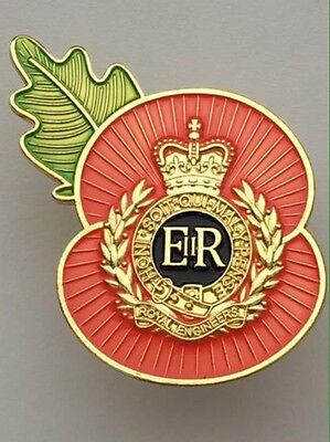 Royal Engineers ( RE ) Regimental Poppy Pins-Gold