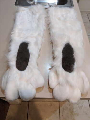 White Fursuit Costume Hand Paw Sleeves