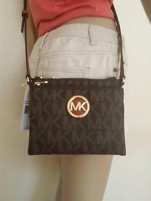 NWT Michael Kors Brown Fulton Crossbody PVC Handbag MK Signature Bag