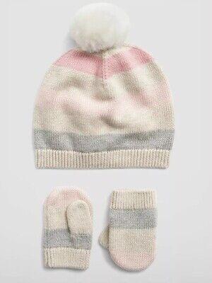 Gap Baby Girl Stripe Pom Beanie Set Hat Mitten Pink Gray Ivory / Size 0-6 Months ()